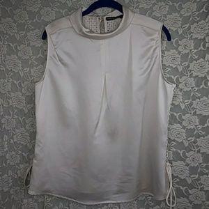 KAREN MILLEN Ivory Mock Neck Lace-up Side Top
